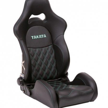 Takata Drift Pro Leather Seat - Green Stitching